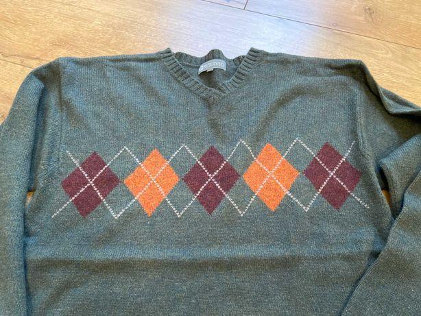 Sweter męski wełniany Reserved Zielony Romby Jesienne kolory Ciepły