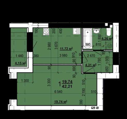 30010 уе продам 1 ком квартиру ЖК Мира! S=42 м2 B
