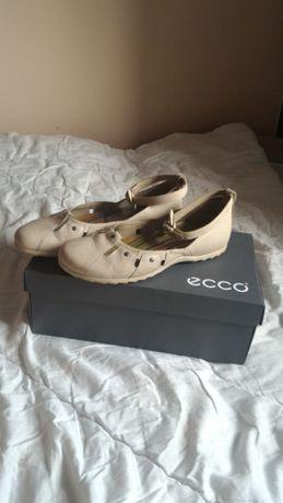 Skórzane, kremowe, baleriny Ecco 43, wkładka 28 cm