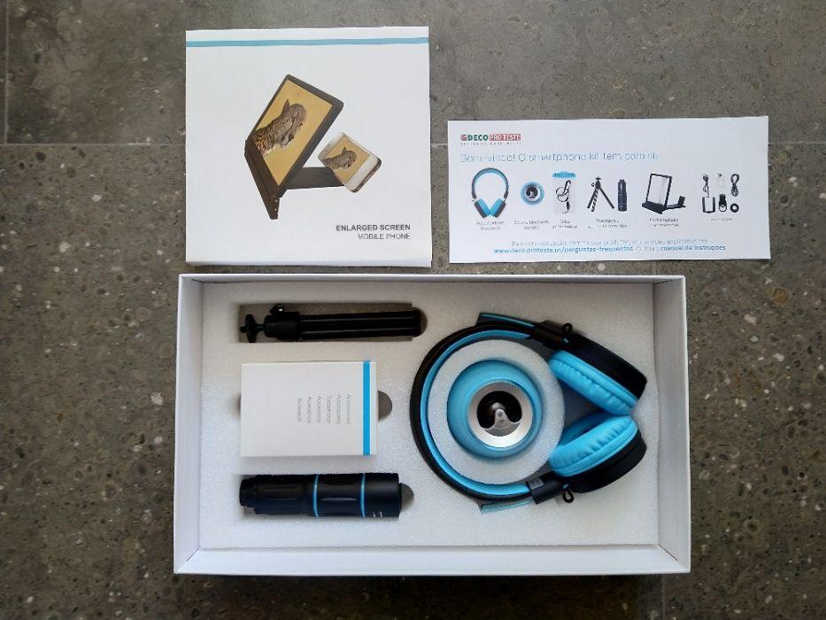 Smartphone Kit (auscultadores e coluna Bluetooth, tripé, bolsa)