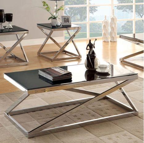 Стол журнальный кофейный в гостинную нержавеющая сталь стекло цвет