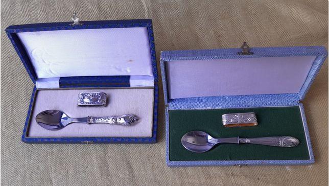 Dois Conjuntos de Colher e Argola de Guardanapo em Prata