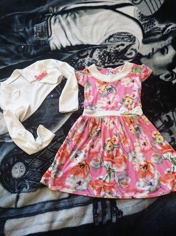 Яркое нарядное цветочное платье с болеро на девочку 5 лет.