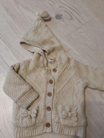 Ciepły sweterek/kurtka dla dziewczynki 68-74