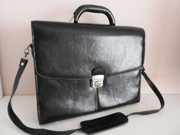 torba skórzana aktówka czarna