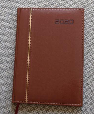Kalendarz 2020 jako notatnik, rozmiar: 17 cm x 24 cm, brąz z paskiem