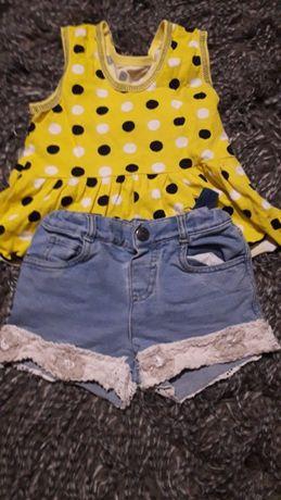 шортики джинсовые +маечка в горошек размер 98-104