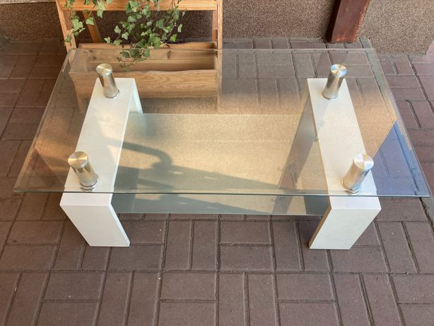 stolik szklany biały