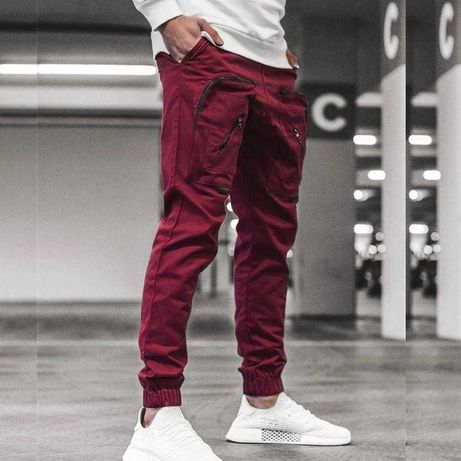 Spodnie męskie joggery czerwone rozm.M