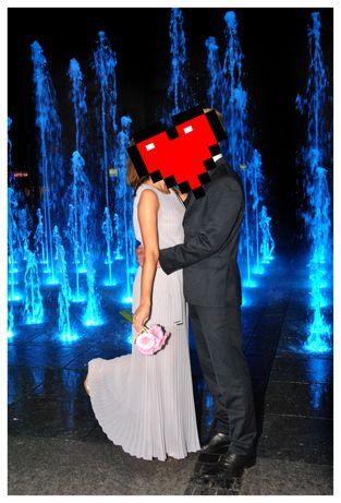 Sukienka Top Secret 36 S szara plisowana długa ślub ślubna wesele