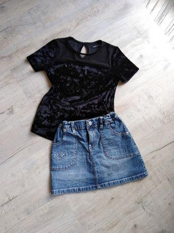 Bluzeczka reserved , spodniczka dzinsowa r 128