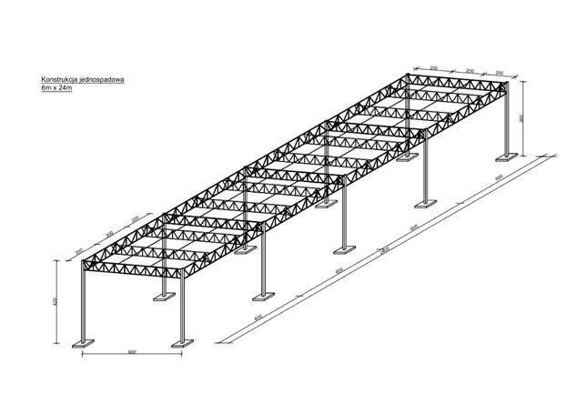 Konstrukcja Stalowa 6x24 Hala Wiata Magazyn Garaż Zadaszenie