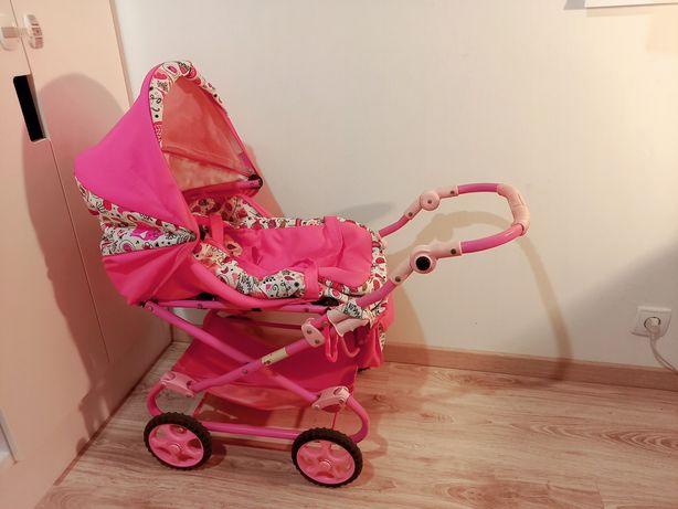 Wózek dla lalek, różowy, składany.