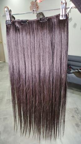 ручной тресс на клипсах их славянских волос 60см 80грамм