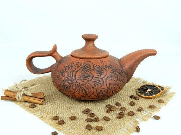 Чайник заварочный Восточный 700 мл, ручная работа с красной глины