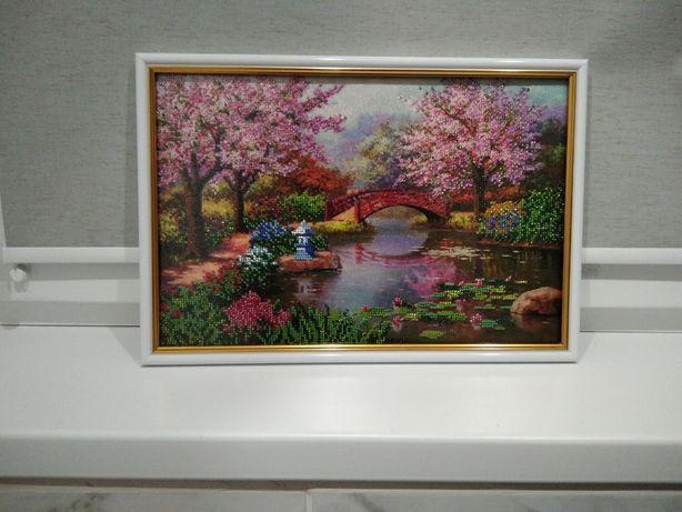 """Картина вышитая бисером """"Японский сад"""""""