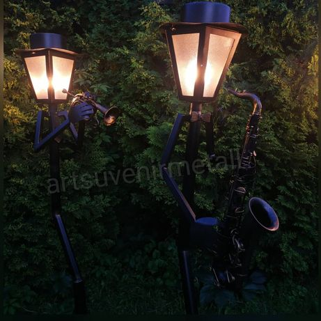 "Садовый кованый фонарь ""Музыкант"" уличный фонарный столб ""Музыканты"""