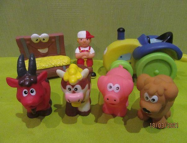 набор Ферма 7 фигурок Baby team,  набор кегли ферма, коврик ферма