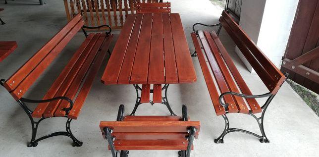 Meble ogrodowe, stół ławka żeliwna, zestaw ogrodowy