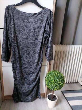 Sukienka midi we wzory rękaw do łokcia r. M