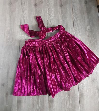 Велюровая юбка плиссе на 9-10 лет