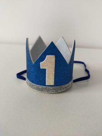 Korona niebieska na roczek pierwsze urodziny