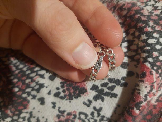 Серебряная цепь мужская на руку, браслет 925 проба