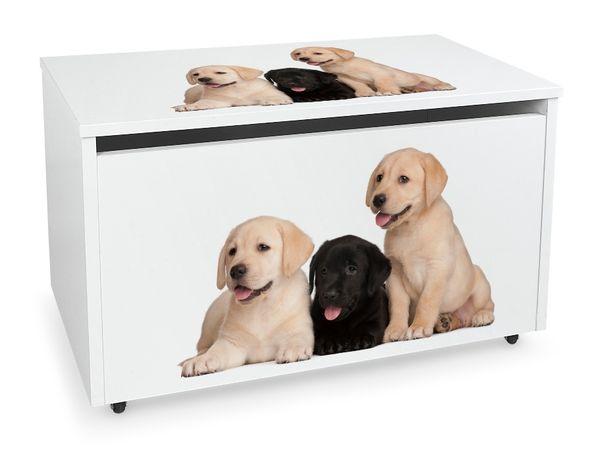 Duża drewniana skrzynia na zabawki na kółkach Motyw: Pieski