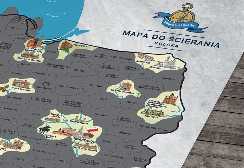 Mapa Polski do ścierania Zabytki Warszawa - image 1