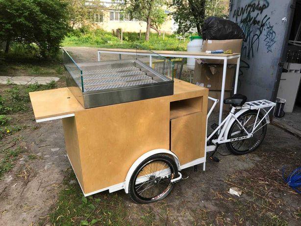 """Трехколесный велосипед с  платформой для уличной торговли """"Кофейный"""""""