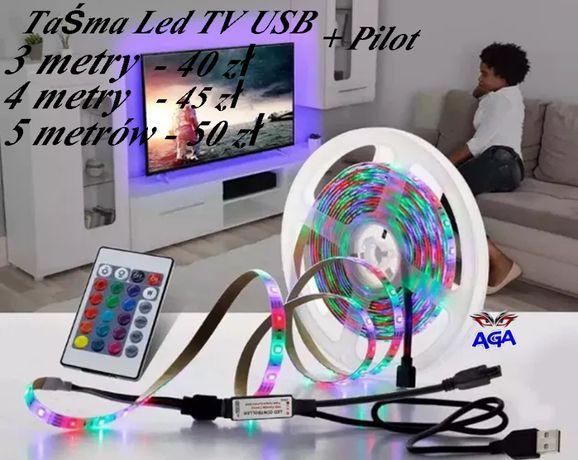 Taśma LED TV RGB 5V USB Podświetlanie 3/4/5 Metrów + Pilot