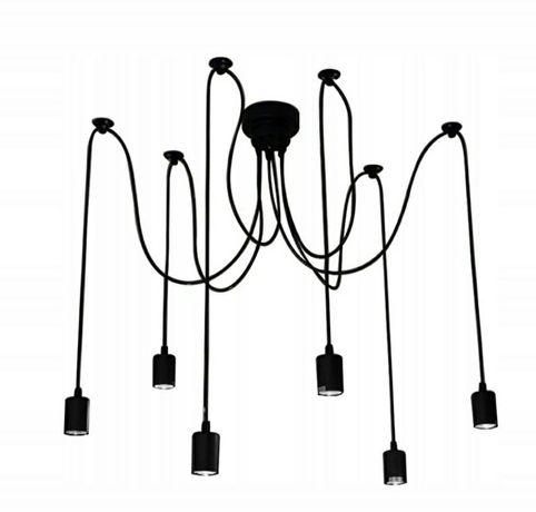 Lampa czarna pająk 6 ramion
