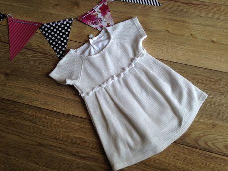 Sukienka biała kremowa ażurowa reserved 86/92 cm 18/24 miesiące