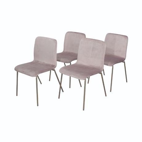 Conjunto de 4 cadeiras em veludo (ROSA) - Arouet