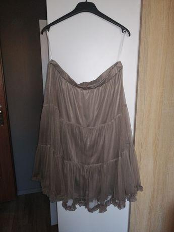 Oliwkowa tiulowa spódnica na podszewce