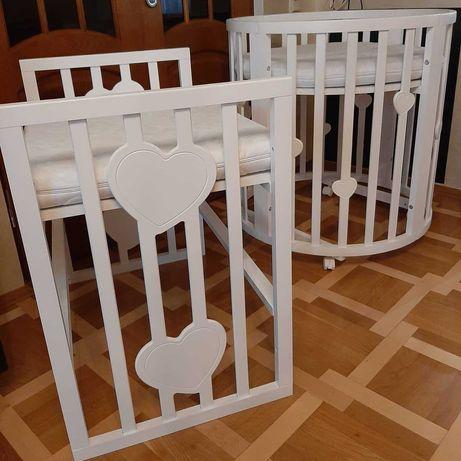 """Кроватка-трансформер с """"сердечком"""" овальная/круглая, столик, манеж."""