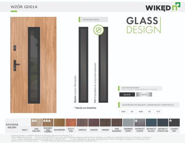 Drzwi wejściowe zewnętrzne Wikęd Premium 54mm Glass Design GD01A