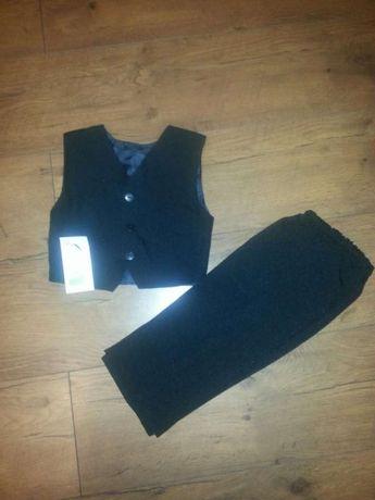 Komplet r.86 czarny kamizelka i spodnie NOWY