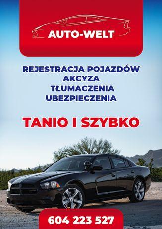 Rejestracja Pojazdów,Akcyza,Tłumacz,OC- AC ,Tanio,MieniePrzesiedlenia
