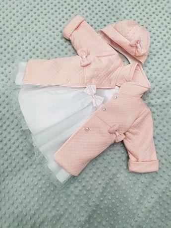 Śliczna sukienka + płaszczyk do chrztu. Rozmiar 68. Komplet jak nowy.
