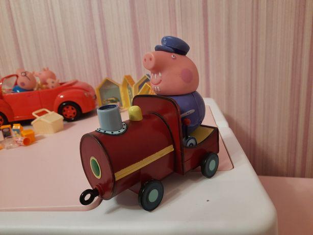 Поезд, машина, домики, вертолет мисс крольчихи из мультика Пеппа