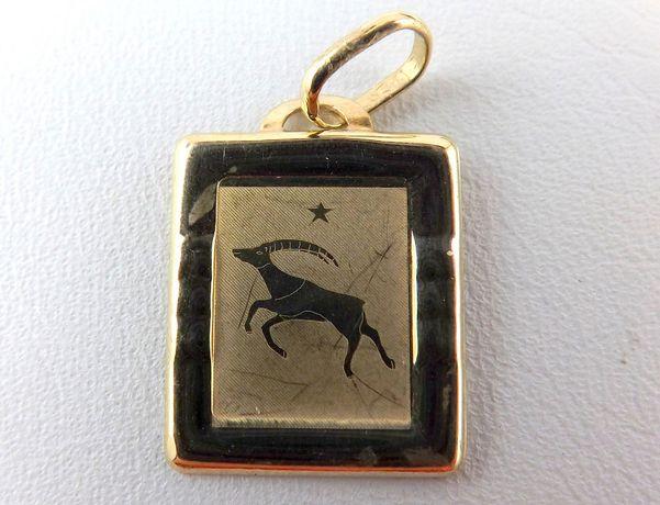 Prześliczna złota zawieszka Koziorożec 585 0,79GR