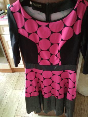 Sukienka wizytowa w grochy z eco skóra m/l