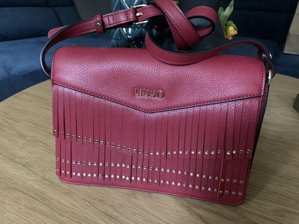 Nowa torebka bordowa Liu Jo dlugi pasek logo czerwona