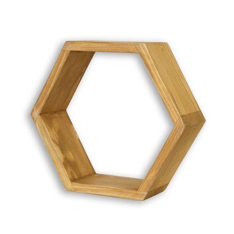 Półka wisząca plaster miodu Cevilo drewniana, 3 sztuki
