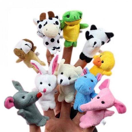 Набор игрушка на пальцы,кукольный пальчиковый театр,зверята,семья,люди