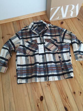 Koszula kurtkowa w kratę oversize, nowa z metką zara rozmiar m