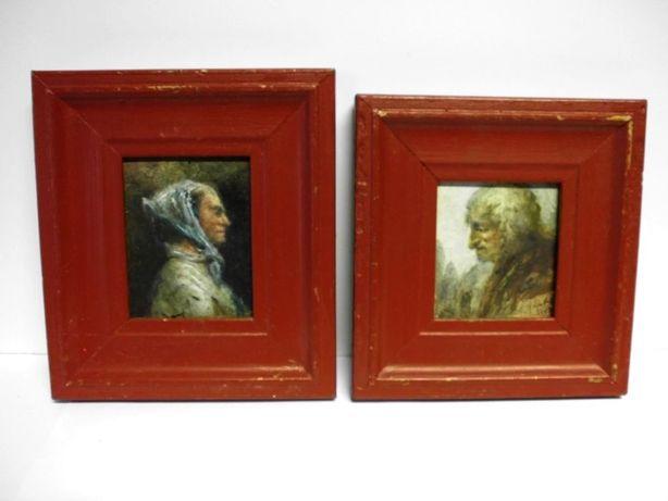 2 Velhotes - pinturas de José Mergulhão - assinadas e datadas 1967