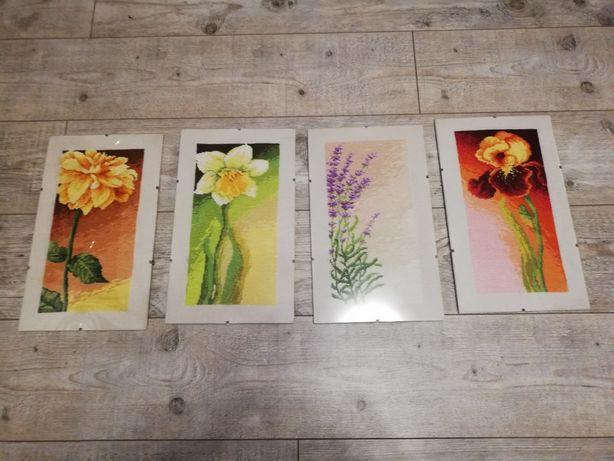 Komplet 4 obrazów wyszywanych