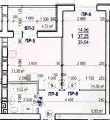 Продам в ЖК Валентиновская однокомнатную квартиру 39.64м2.L